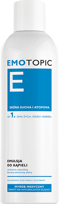 Emotopic - emulsja do kąpieli. Olej konopny, olej canola, olej sojowy.